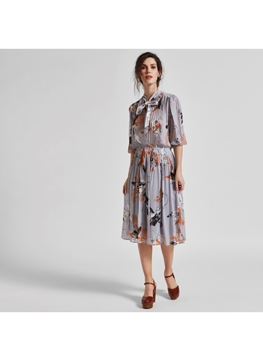 Vekem-Limited Edition Truvakar Kol Çiçekli Midi Elbise Gri